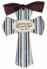 Blue/Brown Stripe Medium Cross - Children Are A Gift From God