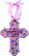 Pink Flower Small Cross - I am wonderfully made