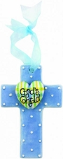 Blue w/Gingham Heart Small Cross - God's Child