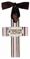Pink/Brown Stripes Small Cross - Friends Love At All Times