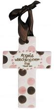 Pink/Brown Polka Dot Small Cross - Angels watching over me