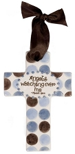 Blue/Brown Polka Dot Small Cross - Angels Watching Over Me
