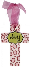 Pink Leopard Print w/Lime Center Small Cross - Joy