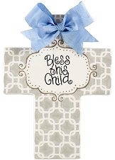 Grey Chains Blue Bow Large Cross - Bless this Child