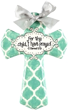 Aqua Quatrefoil Medium Cross - For this child, I have prayed