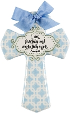 Blue Chains Medium Cross - I am fearfully and wonderfully made