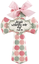 Pink/Grey Polka Dot Medium Cross - Angels watching over me