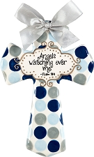 Blue/Grey Polka Dot Medium Cross - Angels watching over me