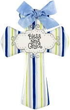 Blue/Green Stripe Medium Cross - Bless this child