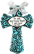 Aqua & Grey Swirl Medium Cross - Be still and know that I am God