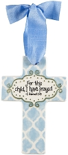 Blue Quatrefoil Small Cross - For this child, I have prayed
