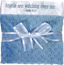 Blue/White Baby Blanket - Angels watching over me