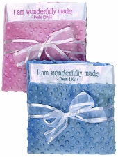 PINK/White Baby Blanket - I am wonderfully made