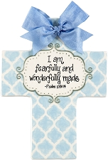 Blue Quatrefoil Large Cross - I am fearfully and wonderfully made