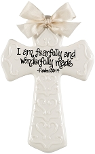 Cream Medium Cross - I am fearfully and wonderfully made
