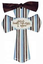 Blue/Brown Stripe Medium Cross - Jesus Loves me, this I know