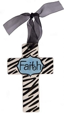 Zebra Print w/Blue Center Small Cross - Faith