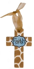 Giraffe Print w/Blue Center Small Cross - Faith