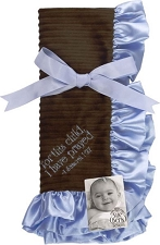 Blue/Brown Baby Blanket - For this child, I have prayed