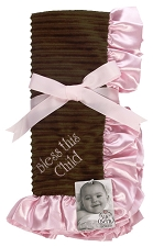 Pink/Brown Baby Blanket - Bless this child