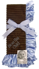 Blue/Brown Baby Blanket - Bless this child