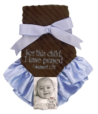Blue/Brown Baby Blankie - For this child I have prayed