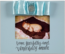 Blue 10x12 Wood Frame - I am fearfully and wonderfully made