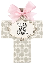 Grey Chains Pink Bow Large Cross - Bless this Child