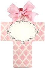 Pink Quatrefoil Large Cross - Blank center