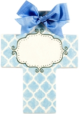 Blue Quatrefoil Large Cross - Blank Center
