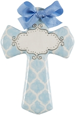 Blue Quatrefoil Medium Cross - Blank Center