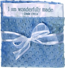 Blue/White Baby Blanket - I am wonderfully made