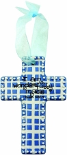 Blue Gingham Small Cross - I am wonderfully made