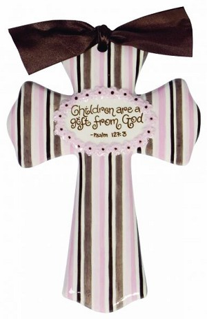 Pink/Brown Stripe Medium Cross - Children Are A Gift From God
