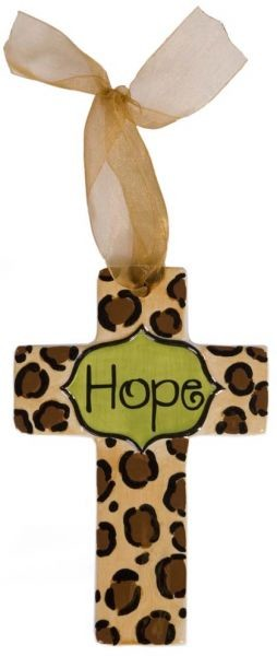 Leopard Print w/Lime Center Small Cross - Hope