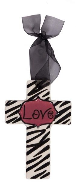 Zebra Print w/Pink Center Small Cross - Love
