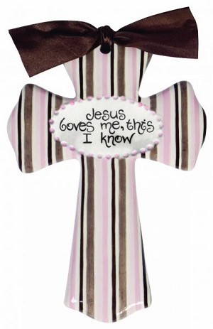 Pink/Brown Stripe Medium Cross - Jesus Loves me, this I know