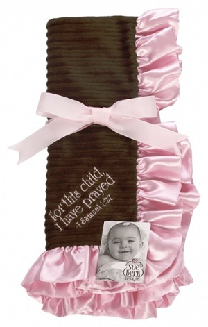 Pink/Brown Baby Blanket - For this child, I have prayed