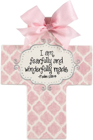 Pink Quatrefoil Large Cross - I am fearfully and wonderfully made