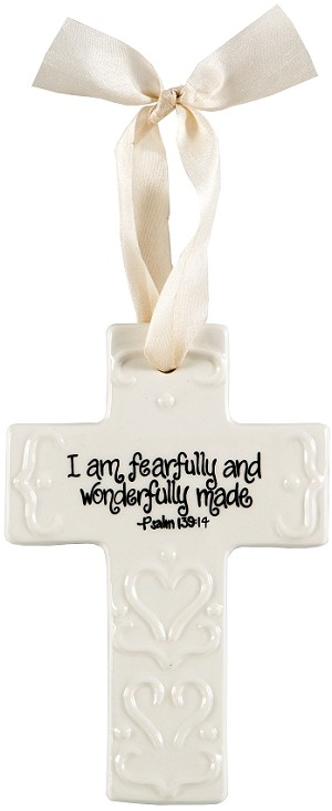 Cream Small Cross - I am fearfully and wonderfully made