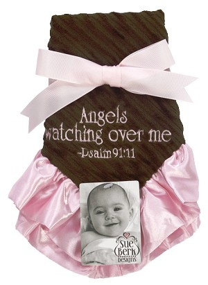 Pink/Brown Baby Blankie - Angels watching over me