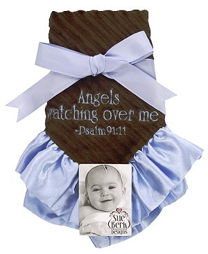 Blue/Brown Baby Blankie - Angels watching over me