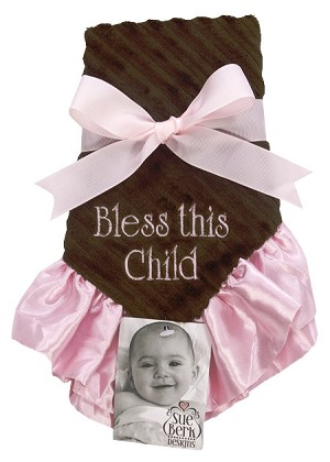 Pink/Brown Baby Blankie - Bless this child