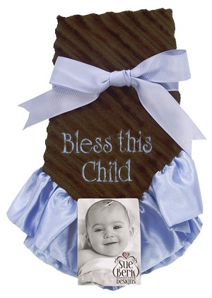 Blue/Brown Baby Blankie - Bless this child