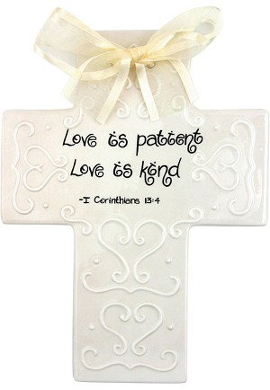 Cream Scrollwork Large Cross - Love is patient, Love is kind