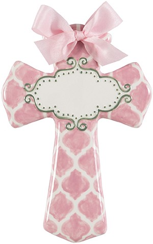 Pink Quatrefoil Medium Cross - Blank Center
