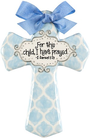 Blue Quatrefoil Medium Cross - For this child, I have prayed